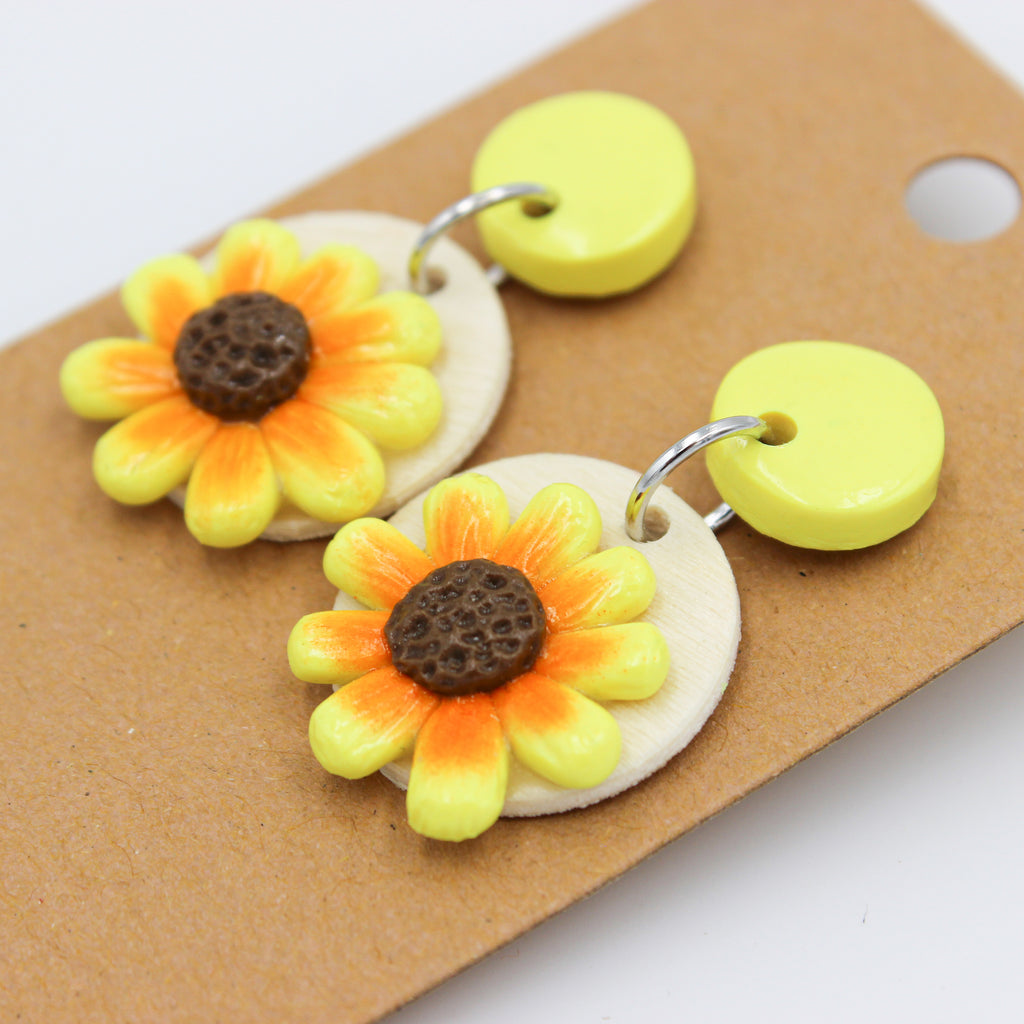 Sunflower Dangles - Handmade Earrings - The Humble Wagon