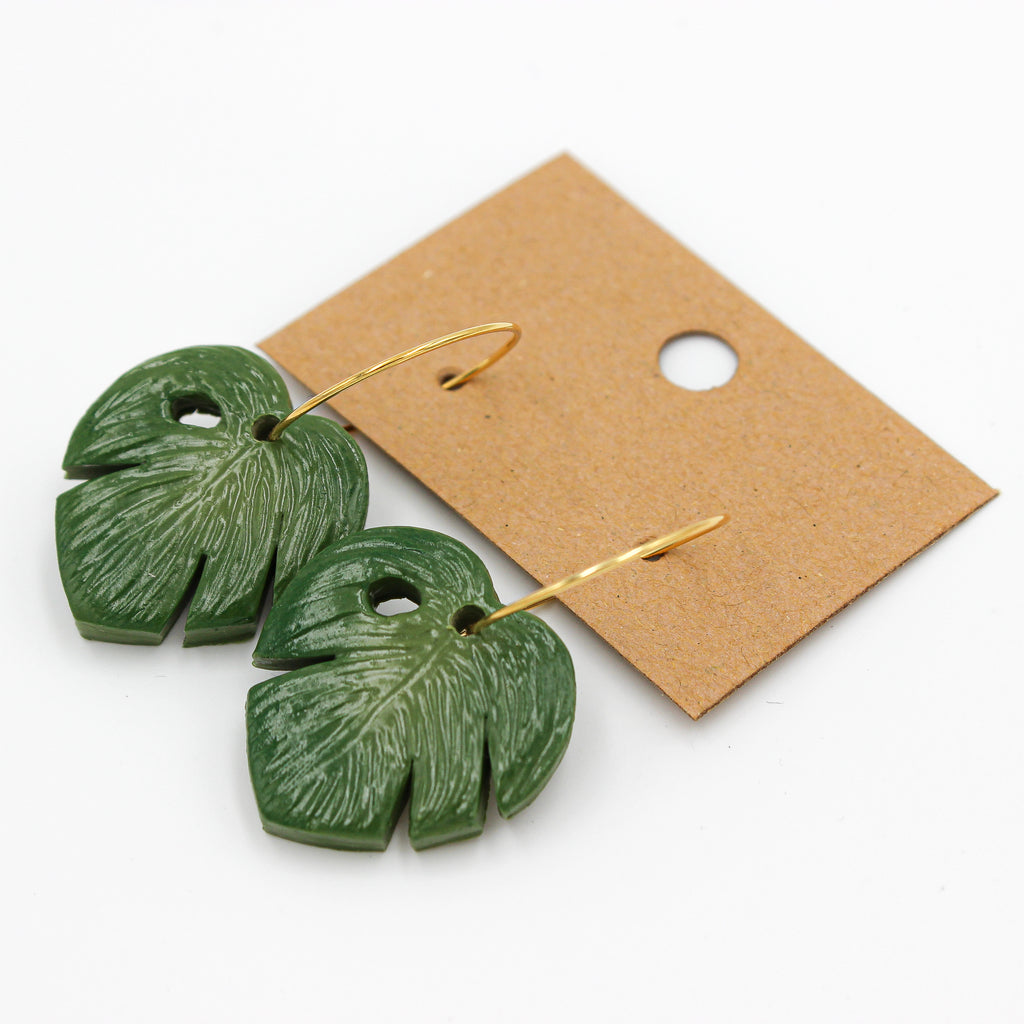 Monstera Gold Dangles | Small - Handmade Earrings - The Humble Wagon