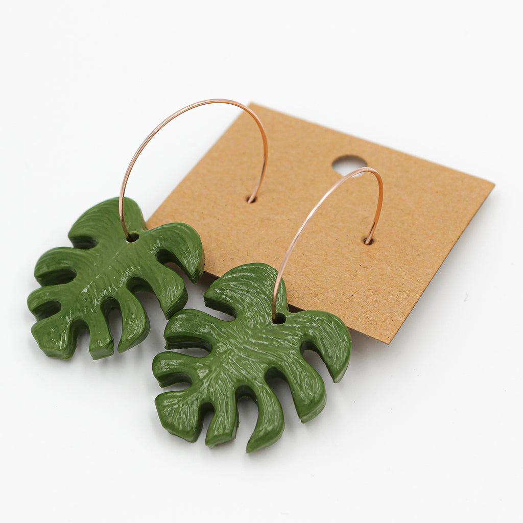 Monstera Rose Gold Dangles | Large - Handmade Earrings - The Humble Wagon
