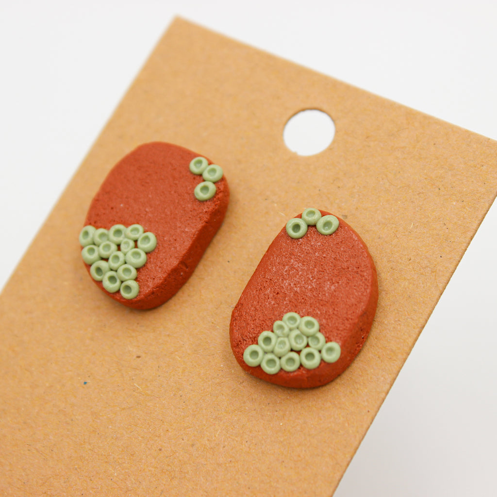 Wild Terra Cotta Studs - Handmade Earrings - The Humble Wagon