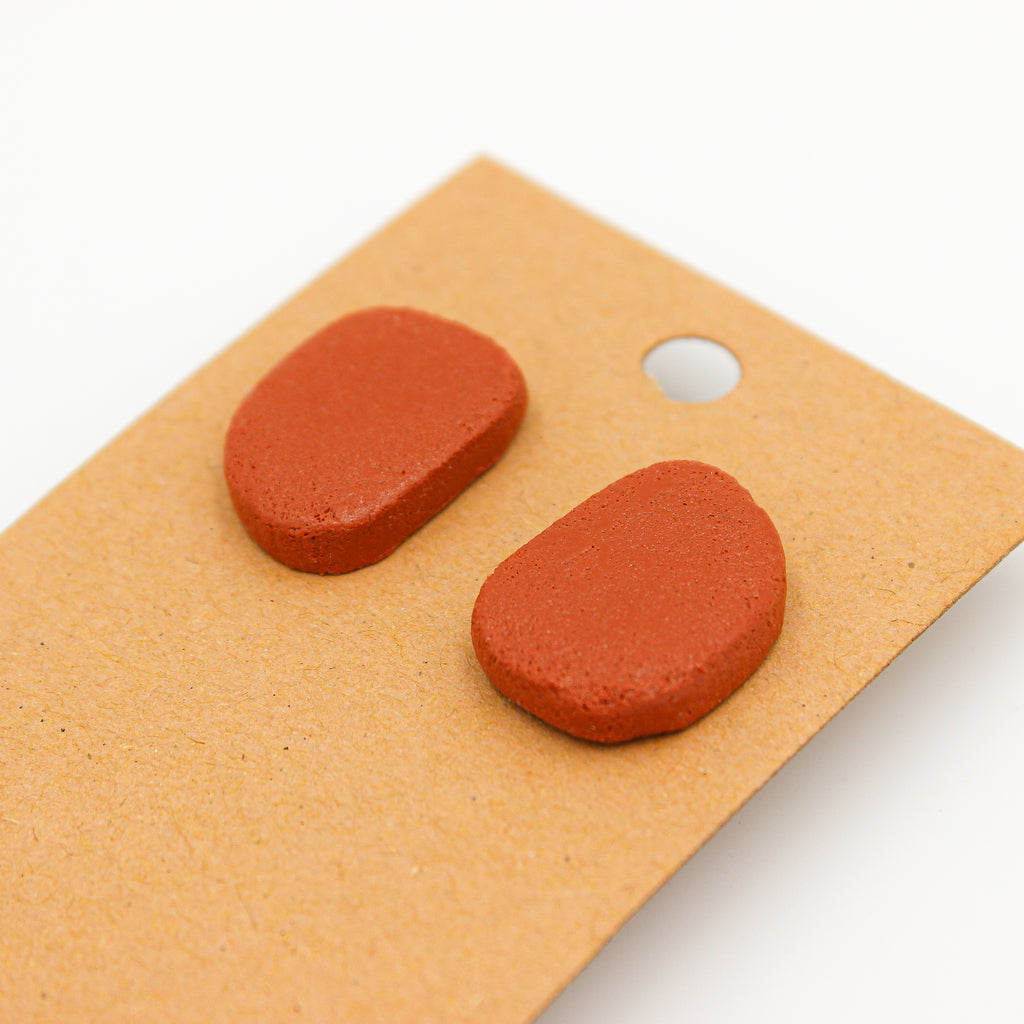 Terra Cotta Studs - Handmade Earrings