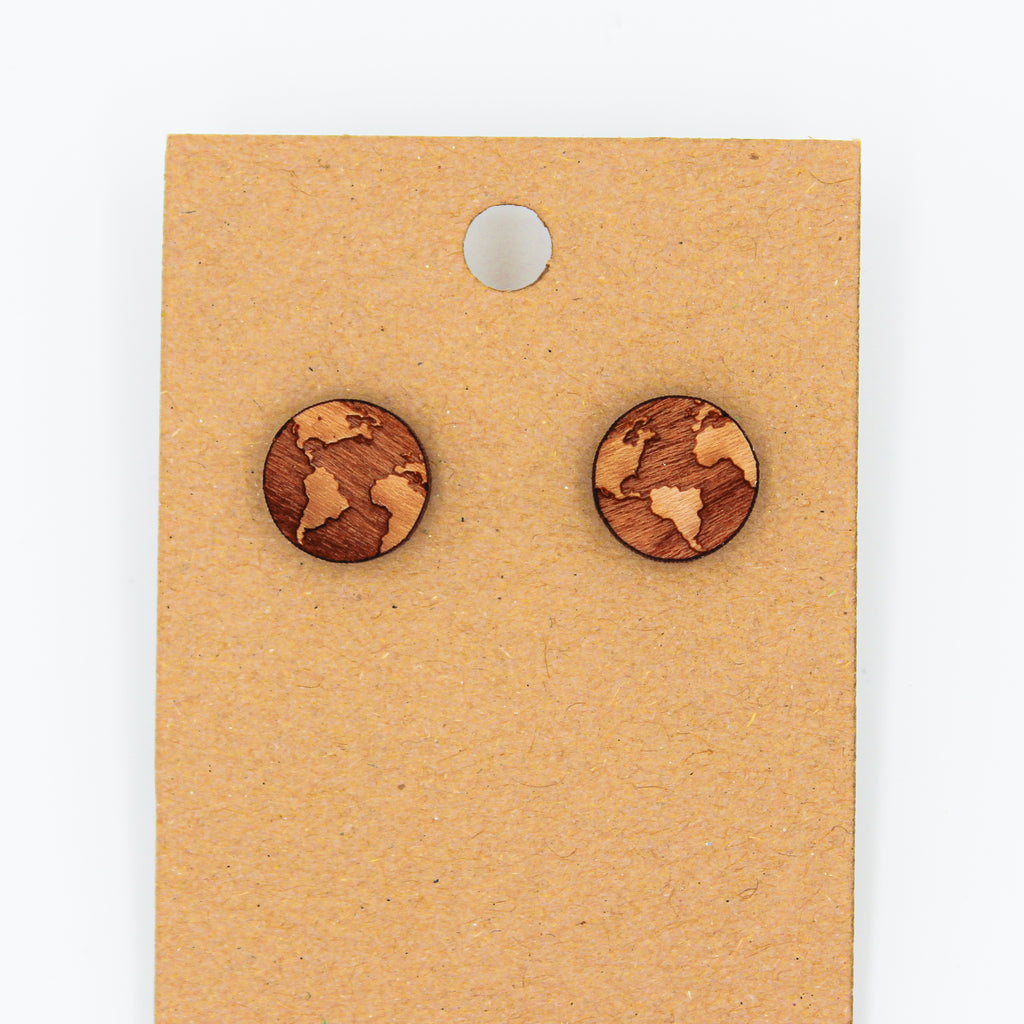 Planet Earth - Natural Wood Earrings - The Humble Wagon