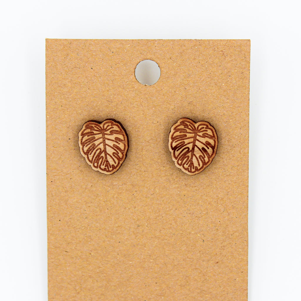 Monstera Leaf - Natural Wood Earrings - The Humble Wagon