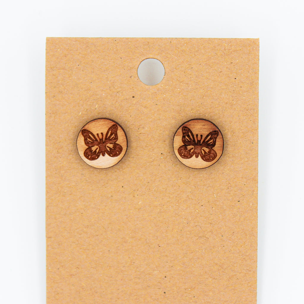 Butterflies - Natural Wood Earrings - The Humble Wagon