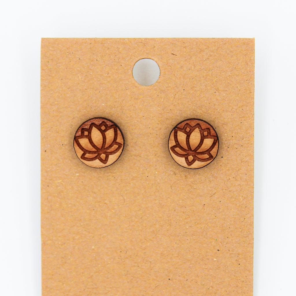 Lotus Flower - Natural Wood Earrings - The Humble Wagon