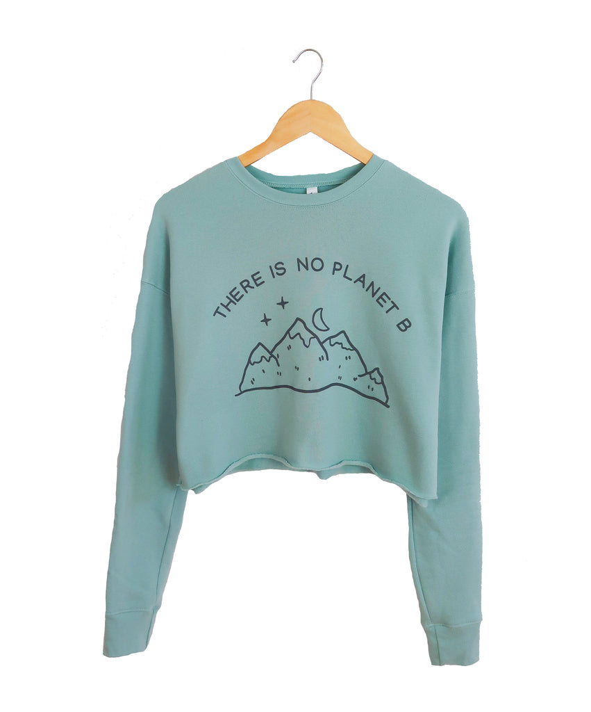 There is no Planet B cropped fleece hoodie in the color Dusty Blue