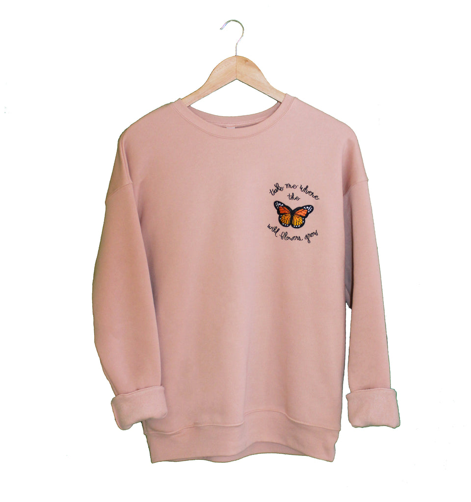 Where The Wild Flowers Grow - Butterfly Fleece Sweater
