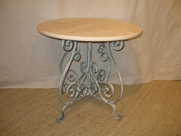Bistro Table with whitewashed iron base and travertine top