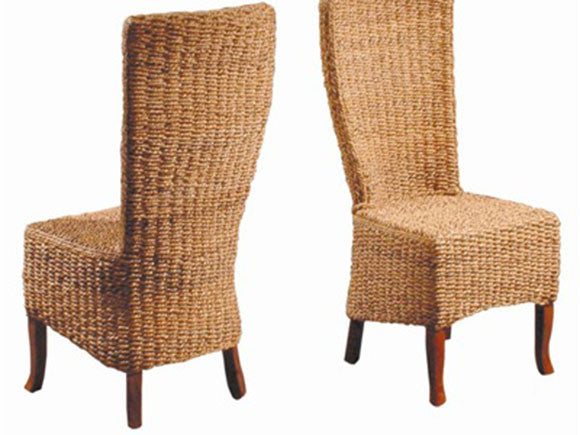 Natural rope chair on solid mahogany