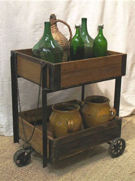 Fruit Vendor's trolley made of iron and handwaxed pine with three iron wheels