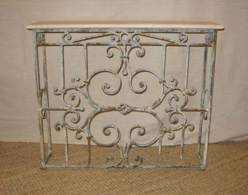 Iron & Travertine Console - Tinnin Imports