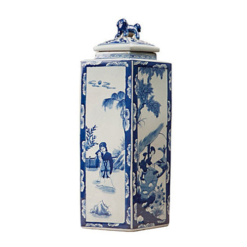 Blue and White Tall Jar