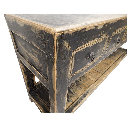Charcoal Gray Beechwood Console Table - Tinnin Imports