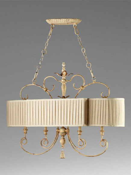 Country French style chandelier with four lights and a pleated shade for an island