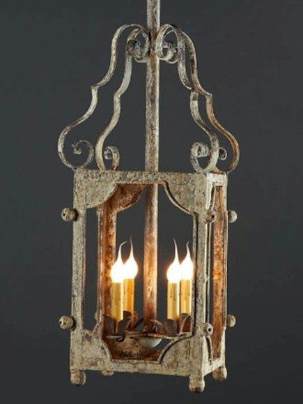 Corsica Lantern made of iron with distressed finish, open faced with 4 40 watts candles