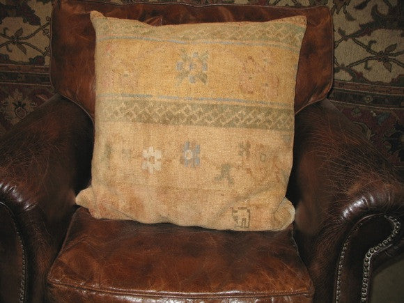 vintage turkish oushak rug pillow tan brown two-town design one of a kind