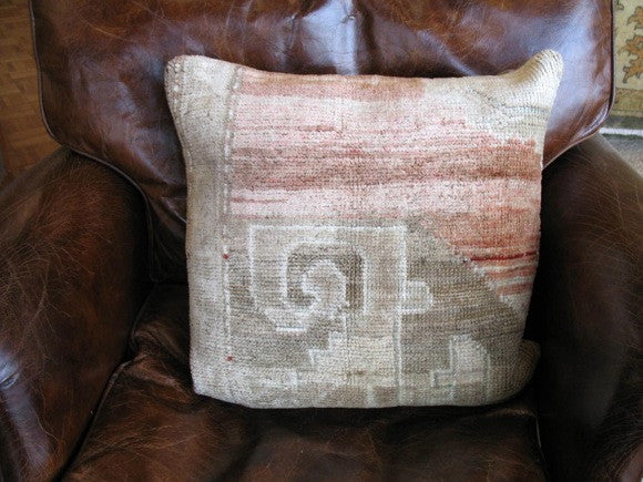 Vintage Turkish Oushak Rug Pillow two-tone one of a kind