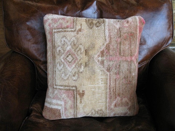 vintage turkish oushak rug pillow monochrome beige and red design one of a kind