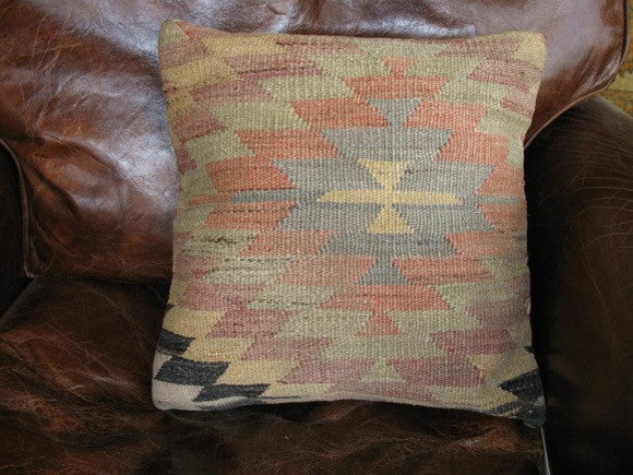 Vintage Turkish Kelim Rug Pillow one of a kind multi-colored