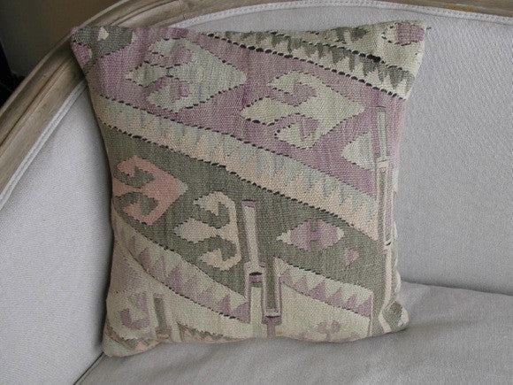 Vintage Turkish Kelim Rug Pillow diagonal pattern one of a kind