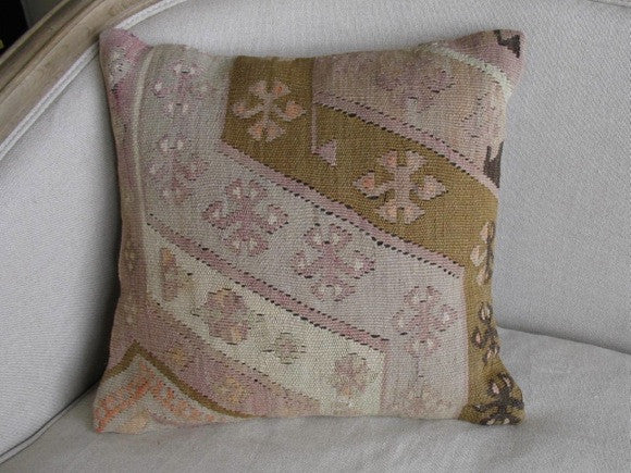 vintage Turkish Kelim Rug Pillow green and pink one of a kind