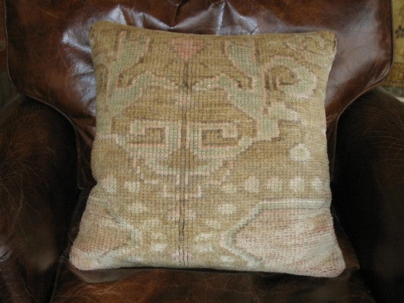 Vintage Turkish Oushak Rug Pillow one of kind tan