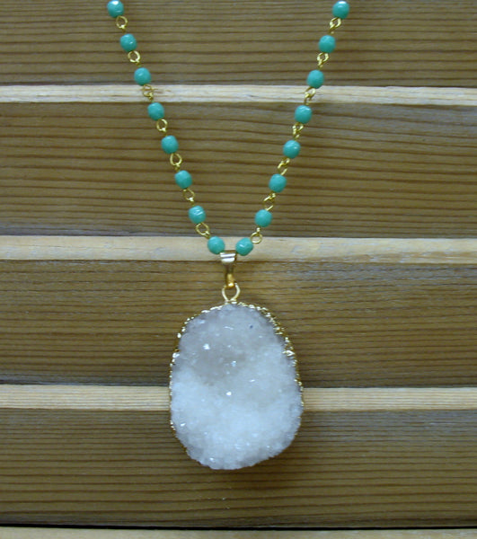 Snowy Druzy Necklace