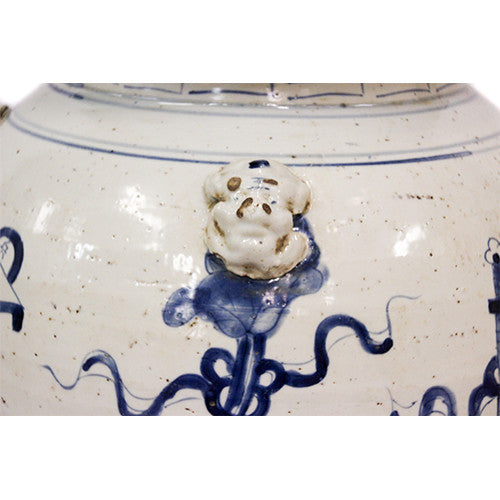 Antiqued Blue and White Ginger Jar - Tinnin Imports
