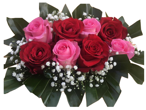 Medium Red and Pink Roses Bouquet
