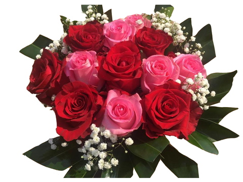 Large Red and Pink Roses Bouquet