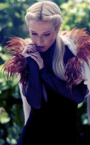 angora feathered shrug l'une collection by anh volcek