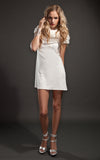 ruffled neck white dress