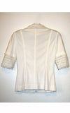 white ruffled jacket l'une collection back view