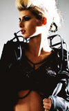 Black plastic and chain bra L'une Collection by Anh Volcek