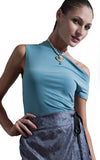 Anna Womens one shoulder top in Blue size Small/Medium