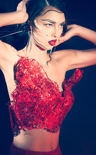 Red plastic bustier L'une Collection by Anh Volcek