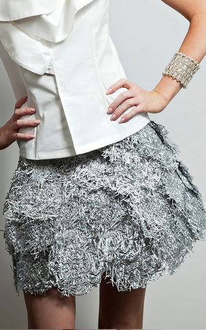 L'une Collection by Anh Volcek Silver Plastic Sequin Wrap Skirt.