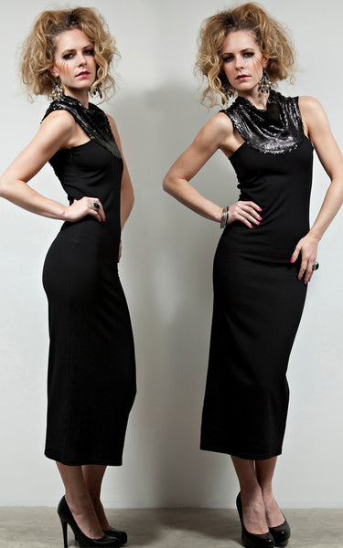 Sequined Neck_Draped_Cocktail_Dress_L_une_Collection