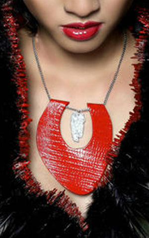 Red Leather necklace L'une Collection