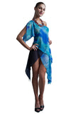 womens silk printed layered top l'une collection by anh volcek