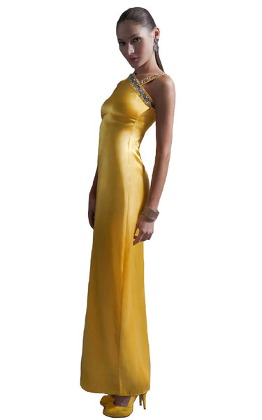 womens silk yellow gown l'une collection size xs