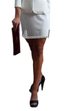 white skirt size 6 womens l'une collection with ribbon trim