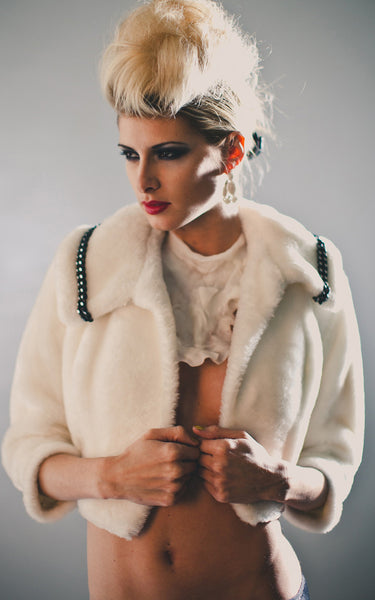 white vintage fur jacket l'une collection
