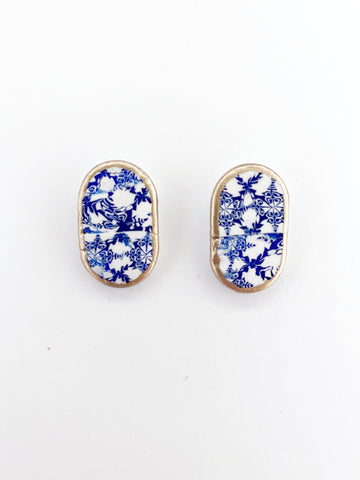 Blue and White Oval Studs