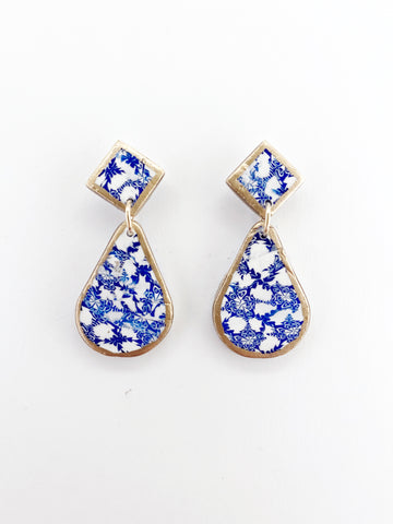 Blue and White Small Drop Earrings