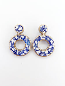 Blue and Gold Drop Earrings
