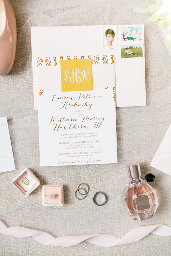 gold foil invitation