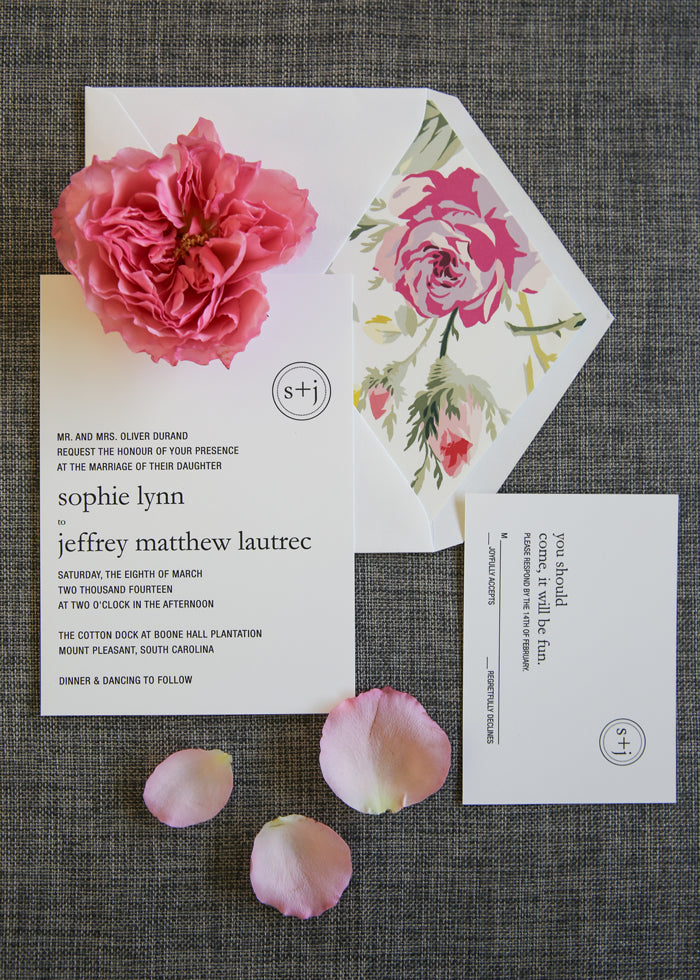 modern flower invitation