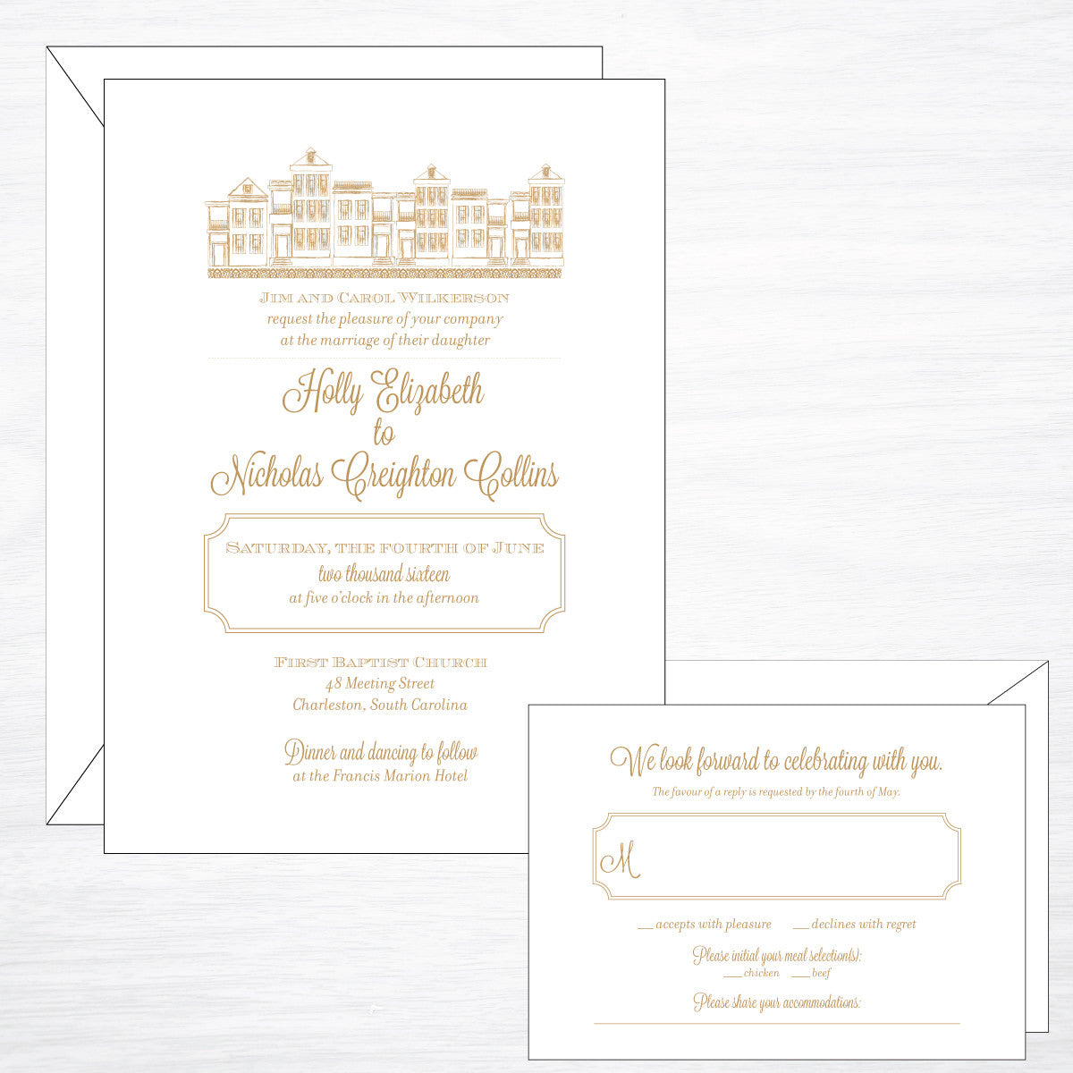 Charleston | Wedding Invitation Suite - shop greeting cards, handmade stationery, & wedding invitations by dodeline design - 1