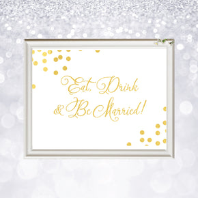 Eat Drink & Be Married | Confetti Gold Foil - shop greeting cards, handmade stationery, & wedding invitations by dodeline design - 2